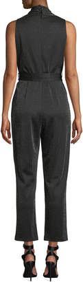 Neiman Marcus Glitter Tie-Front Wide-Leg Jumpsuit