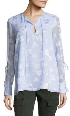 Ellen Tracy Modele Textured Tie-Sleeve Blouse