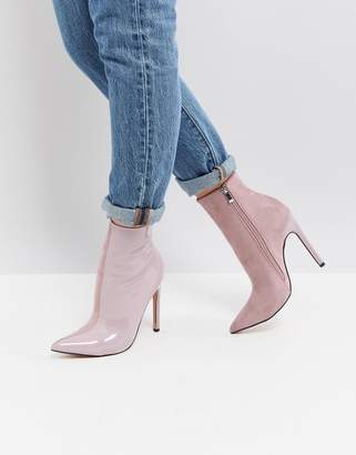 Public Desire Yuri Lilac Contrast Stiletto Heeled Ankle Boots