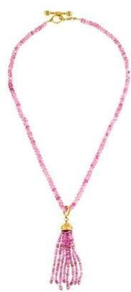Elizabeth Locke 18K Pink Tourmaline Tassel Bead Necklace
