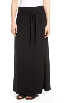 Caslon Tie Front Cotton Maxi Skirt (Regular & Petite)