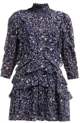 Rebecca Taylor Vivianna Ruffled Silk Blend Shirtdress - Womens - Navy Print