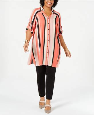 Alfani Plus Size Striped Super Tunic, Created for Macy's