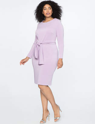 Long Sleeve Sheath Dress with Tie