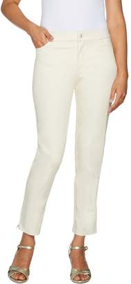 Isaac Mizrahi Live! Regular Brushed Sateen Fly Front Ankle Pants