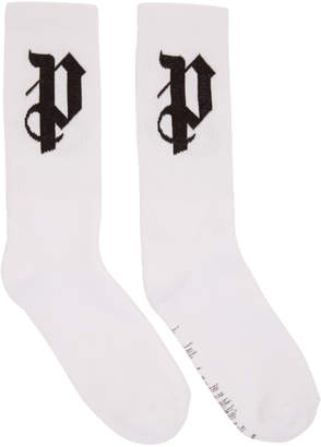 Palm Angels White PA Monogram Socks