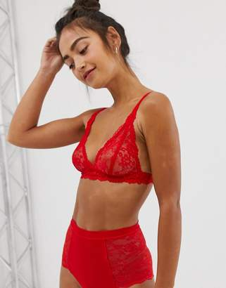 Monki lace high waisted brief in red