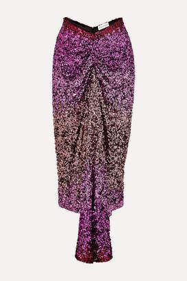 Halpern Ruched Dégradé Sequined Tulle Midi Skirt - Pink