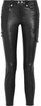Frame Embellished Leather Leggings