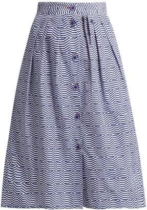 Thierry Colson Riviera geometric-print cotton skirt