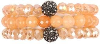 Riah Fashion Glass-And-Natural-Stone Bracelet Set