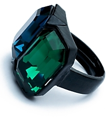 Kenneth Jay Lane Double Crystal Ring: Emerald