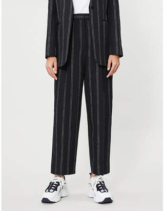 Sandro Striped wide-leg high-rise trousers