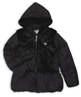Juicy Couture Little Girls' Faux Fur Hooded Coat