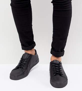 Asos DESIGN Wide Fit sneakers in black with toe cap