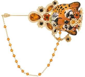 Dolce & Gabbana embellished tiger brooche