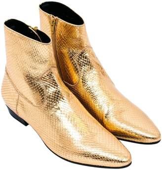 Saint Laurent Gold Python Boots