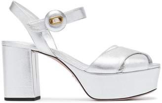Prada Silver 85 Leather platform sandals