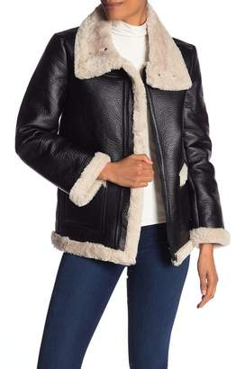 Vince Camuto Faux Shearling Trim Faux Leather Coat