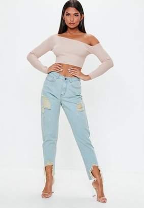 Missguided Blue Vintage Distress High Waisted Rigid Jeans, Light Blue