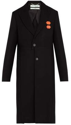 Off-white - Single Breasted Wool Blend Overcoat - Mens - Black