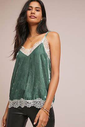 Anthropologie Lace-Trimmed Velvet Cami