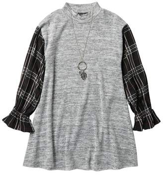 My Michelle mymichelle Plaid Sleeve Mock Neck Dress & Necklace (Big Girls)