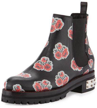 Alexander McQueenAlexander McQueen Flower-Print Leather Chelsea Boot, Black/Multi/Red