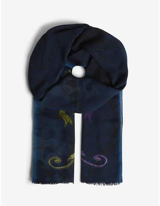 Etro Crest Intarsia printed wool-cashmere scarf
