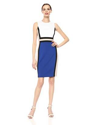 8781196a9ef0 Calvin Klein Women's Sleeveless Color Block Sheath Dress