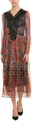 POKWAI Pokwai Leather-Trim Silk Midi Dress