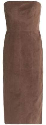 Halston Strapless Faux Suede Dress