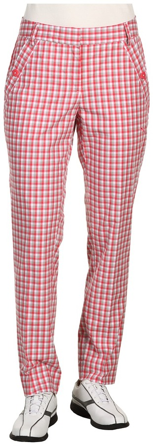 Puma Golf Skinny Plaid Pants (Rouge Red) - Apparel
