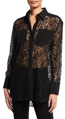 Givenchy Long-Sleeve Cotton-Lace Front