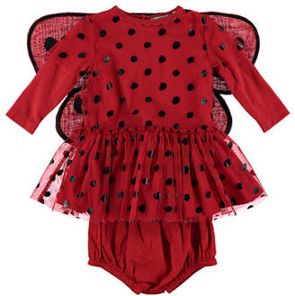 Stella McCartney Ladybug Tulle Dress w/ 3D Wings, Size 6-36 Months