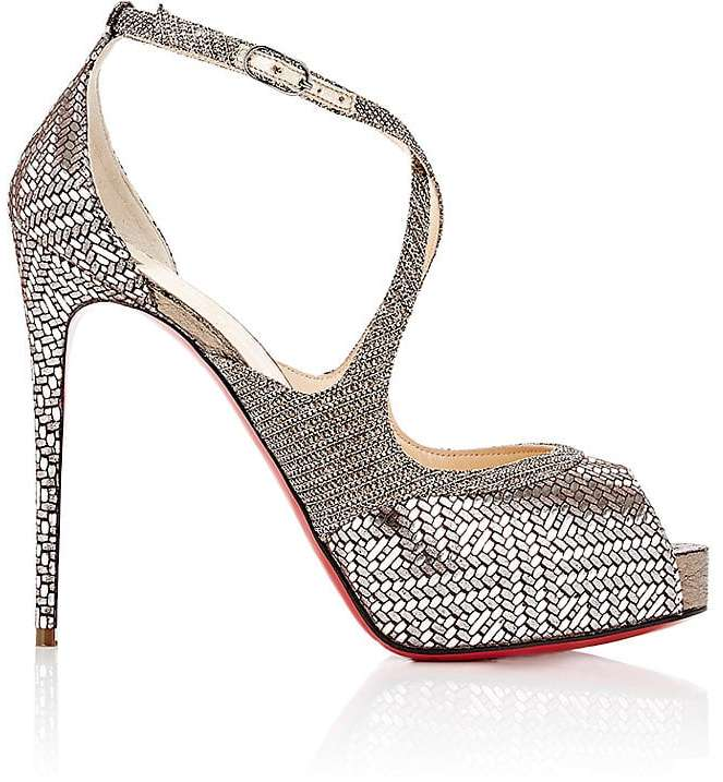 Christian Louboutin Women's Mirabella Leather & Mesh Platform Sandals
