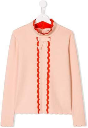 Elisabetta Franchi La Mia Bambina scalloped tie neck blouse