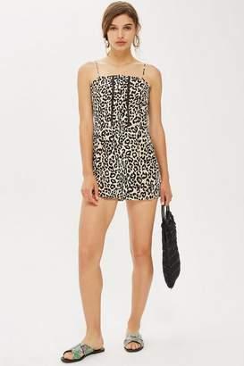 Topshop Womens Leopard Crochet Romper