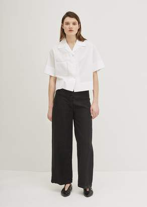 Aspesi Linen Wide Leg Trousers Black