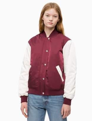 Calvin Klein padded varsity bomber jacket
