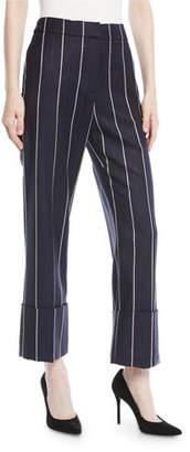 Oscar de la Renta Straight-Leg Cuffed Pinstripe Wool-Blend Pants