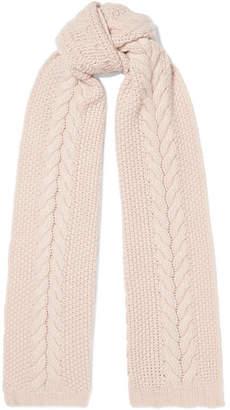 Portolano Cable-knit Cashmere Scarf - Blush