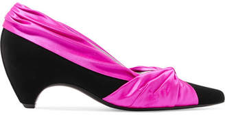 Stella McCartney Two-tone Knotted Satin And Faux Leather Pumps