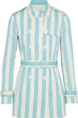 RED Valentino Striped Cotton And Silk-blend Gabardine Trench Coat