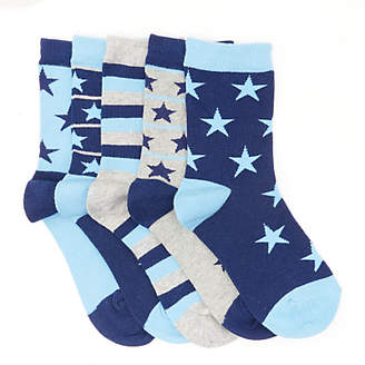 John Lewis Children's Stars and Stripes Socks, Pack of 5, Blue