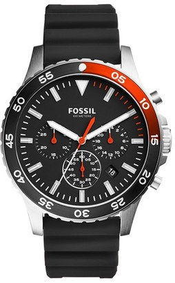 Fossil Crewmaster Chronograph Silicone Strap Watch, 46Mm $135 thestylecure.com