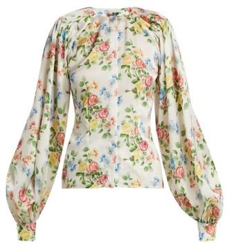 Emilia Wickstead Margot Floral Print Satin Blouse - Womens - Pink Print