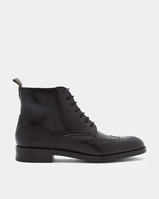 TWRENS Burnished leather brogue boots