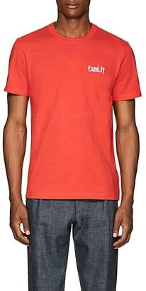 "Ami Alexandre Mattiussi Men's ""Family""-Embroidered Cotton T-Shirt"