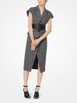 Michael Kors Houndstooth Shetland Wool-Blend Scissor Skirt